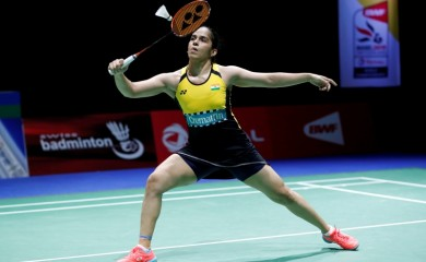 India's Saina Nehwal in action during her third round singles match against Denmark's Mia Blichfeldt REUTERS/Arnd Wegmann/File Photo