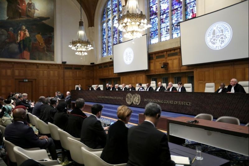General view of the court during the ruling in a case filed by Gambia against Myanmar alleging genocide against the minority Muslim Rohingya population, at the International Court of Justice (ICJ) in The Hague, Netherlands on January 23, 2020. (REUTERS File Photo)