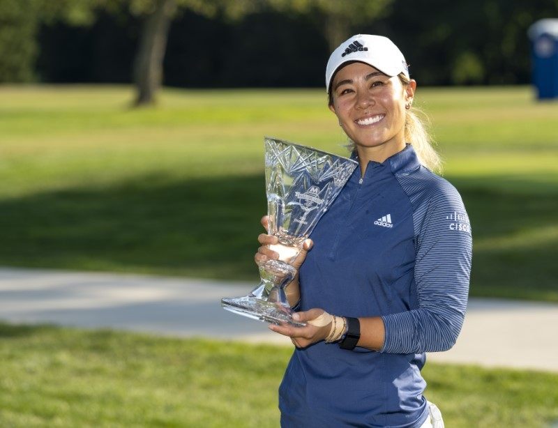Danielle Kang from Las Vegas, Nevada, holds up the championship trophy after winning the final round of the Marathon LPGA Classic golf tournament at Highlands Meadows Golf Club. Marc Lebryk-USA TODAY Sports