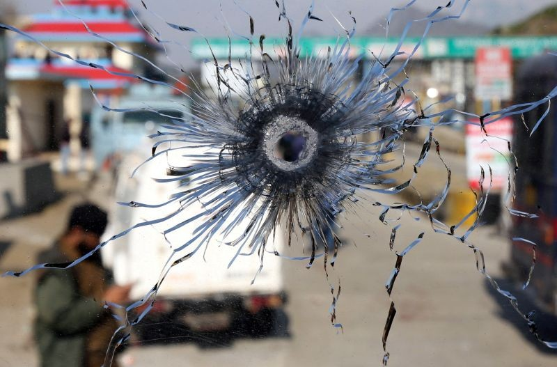 A bullet hole is seen in the windscreen of a truck which was used by suspected militants, at the site of a gun battle at Nagrota, on the outskirts of Jammu on January 31, 2020. (REUTERS File Photo)