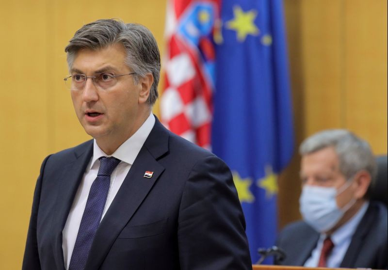 Croatian Prime Minister Andrej Plenkovic speaks in  parliament in Zagreb, Croatia on July 23, 2020. (REUTERS File Photo)