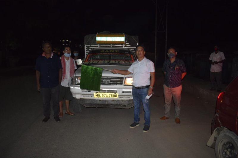 Director Horticulture, Dr Elithung flagging off the load Nagaland vegetables at Nagaland gate on August 7. (DIPR Photo)