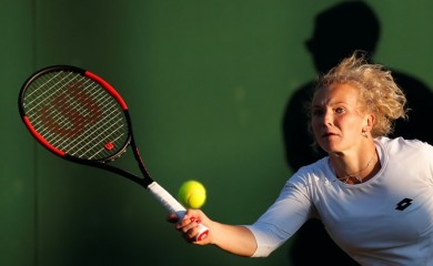 FILE PHOTO: Czech Republic's Katerina Siniakova in action during the first round match against Coco Vandeweghe of the U.S. REUTERS/Andrew Couldridge
