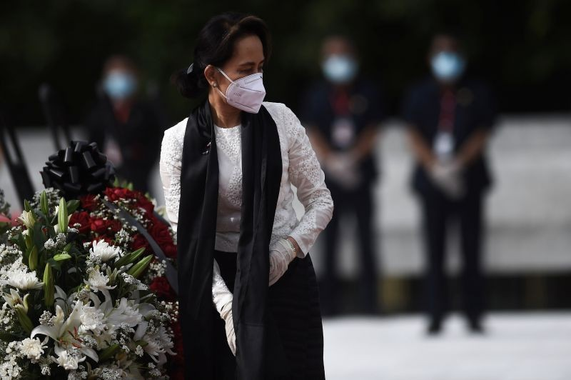Myanmar State Counsellor and Foreign Minister Aung San Suu Kyi leaves after paying her respects to her late father during a ceremony to mark the 73rd anniversary of Martyrs' Day in Yangon on July 19, 2020.  (REUTERS File Photo)