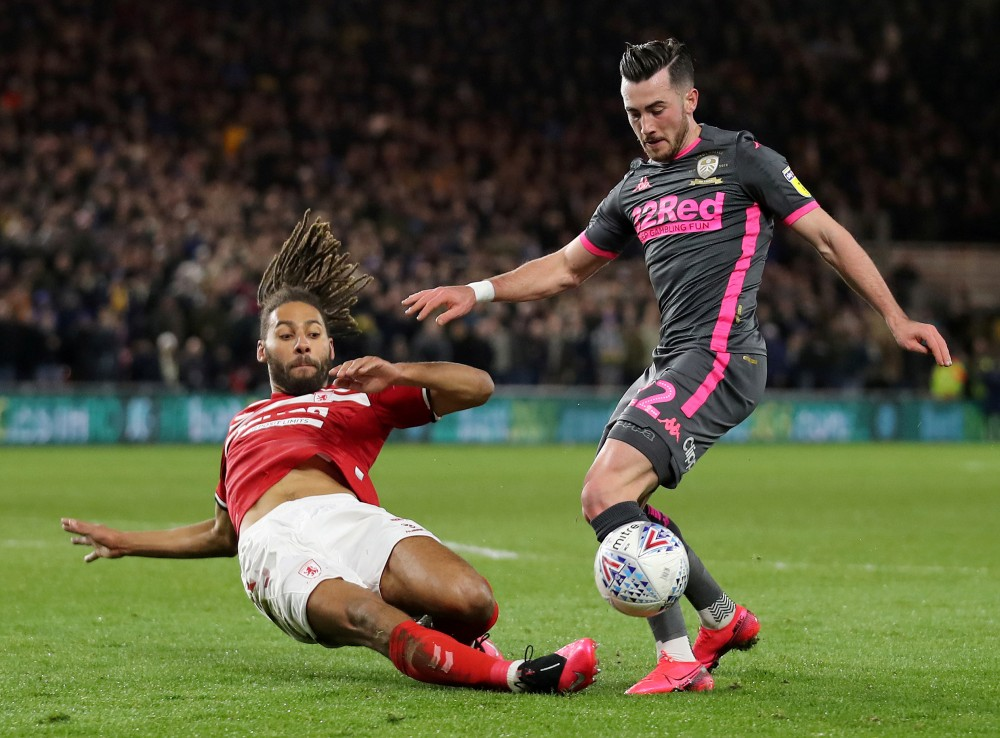 FILE PHOTO: Leeds United's Jack Harrison in action with Middlesbrough's Ryan Shotton Action Images/Molly Darlington/File Photo