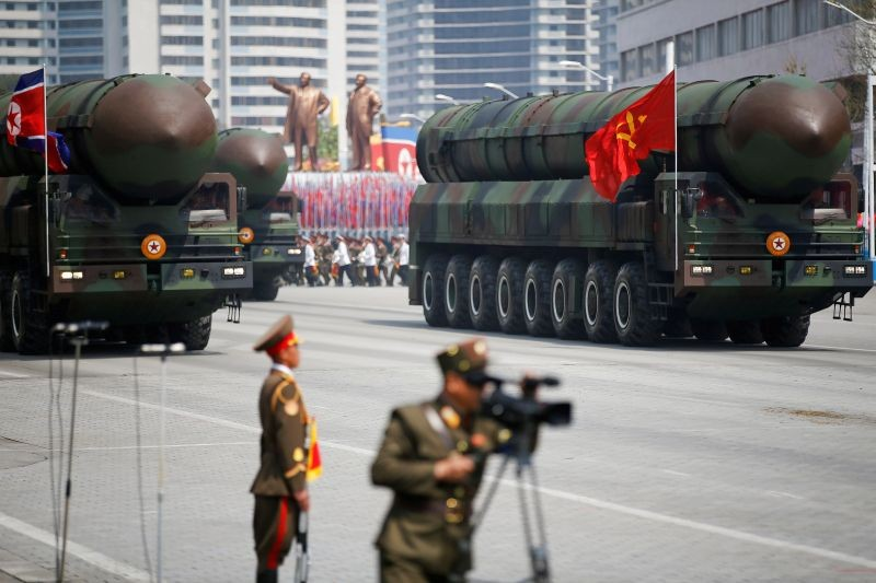 Intercontinental ballistic missiles (ICBM) are driven past the stand with North Korean leader Kim Jong Un and other high ranking officials during a military parade marking the 105th birth anniversary of country's founding father Kim Il Sung, in Pyongyang on April 15, 2017.  (REUTERS File Photo)