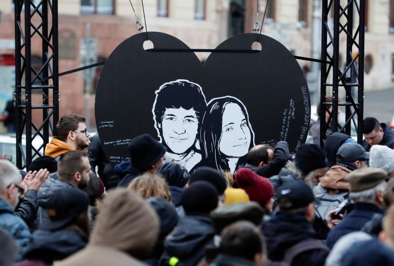 Demonstrators take part in a protest rally marking the second anniversary of the murder of the investigative reporter Jan Kuciak and his fiancee Martina Kusnirova, one week ahead of country's parliamentary election in Bratislava, Slovakia on February 21, 2020. (REUTERS File Photo)