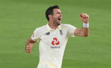 England's James Anderson celebrates taking the wicket of Pakistan's Azhar Ali caught by Rory Burns, as play resumes behind closed doors following the outbreak of the coronavirus disease (COVID-19) Stu Forster/Pool via REUTERS