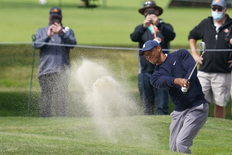 Tiger Woods sand trap on the 7th hole during the second round of the 2020 PGA Championship golf tournament at TPC Harding Park. Mandatory Credit: Kyle Terada-USA TODAY Sports