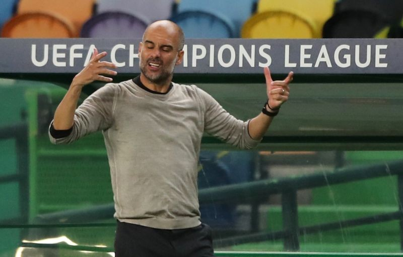 Manchester City manager Pep Guardiola reacts during the match, as play resumes behind closed doors following the outbreak of the coronavirus disease (COVID-19) Miguel A. Lopes/Pool via REUTERS