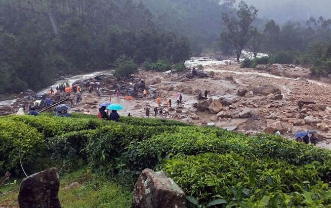 Debris lie on the ground after a landslide due to heavy rainfall in the area, in Idukki district, Friday. Photograph: PTI Photo