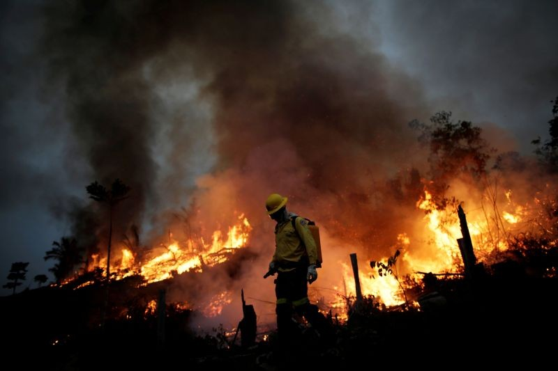 A Brazilian Institute for the Environment and Renewable Natural Resources (IBAMA) fire brigade member attempts to control a fire in a tract of the Amazon jungle in Apui, Amazonas State, Brazil on August 11, 2020. (REUTERS Photo)