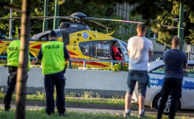 A rescue helicopter is seen on the site where Dutch cyclists Fabio Jakobsen and Dylan Groenewegen crashed, while at the finish line on stage one of the Tour de Pologne in Katowice, Poland August 5, 2020. Grzegorz Celejewski/Agencja Gazeta/via REUTERS