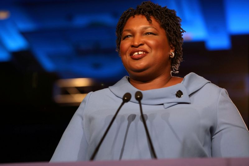 Stacey Abrams speaks to the crowd of supporters announcing they will wait till the morning for results of the mid-terms election at the Hyatt Regency in Atlanta, Georgia, US on November 7, 2018. (REUTERS File Photo)