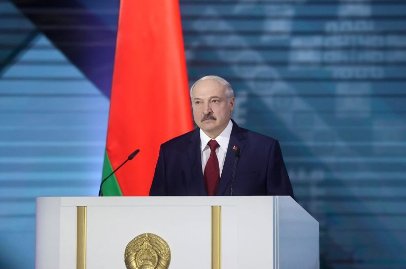 Belarusian President Alexander Lukashenko delivers his annual address to the Belarusian people and the National Assembly in Minsk, Belarus on August 4. (REUTERS Photo)