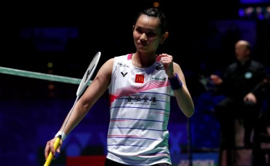 Taiwan's Tai Tzu-ying celebrates winning the women's singles final match against China's Chen Yu Fei Action Images via Reuters/Andrew Boyers/Files