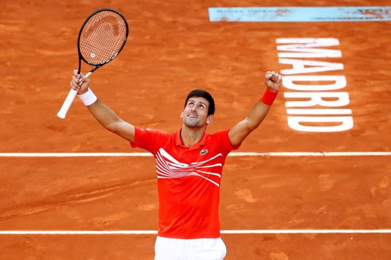 FILE PHOTO: Serbia's Novak Djokovic celebrates winning the final against Greece's Stefanos Tsitsipas REUTERS/Javier Barbancho/File Photo