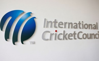 FILE PHOTO: The International Cricket Council (ICC) logo at the ICC headquarters in Dubai, October 31, 2010./File Photo
