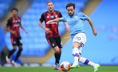 Manchester City's Bernardo Silva in action, as play resumes behind closed doors following the outbreak of the coronavirus disease (COVID-19) Pool via REUTERS/Laurence Griffiths/Files