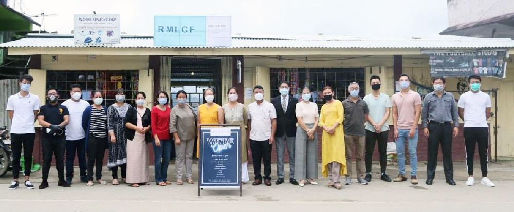 Rev Dr Tseibu Rutsa and others during the dedication of RMLCF Aid Centre in Kohima on August 12.