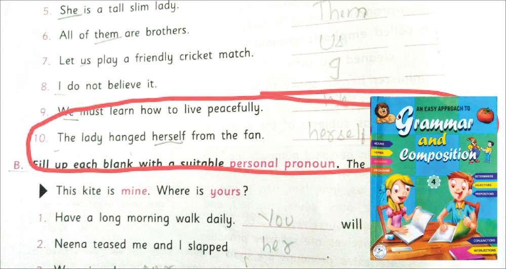 A picture of the disturbing sentence in the class IV texbook (inset) which was posted on Twitter.