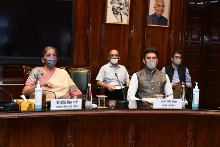 Union Finance Minister Nirmala Sitharaman chairing the 41st GST Council meeting via video conferencing in New Delhi. (IANS Photo)