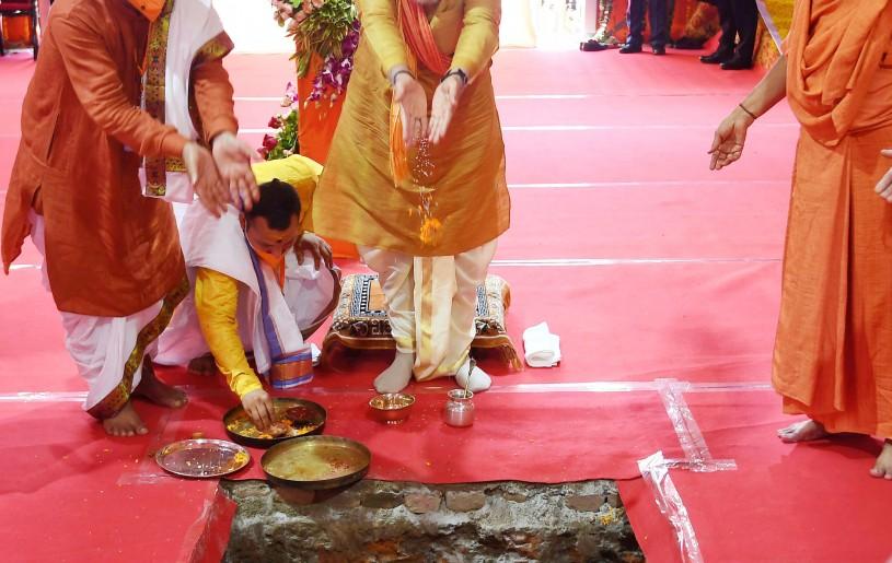 The Prime Minister, Narendra Modi performing Bhoomi Pujan at 'Shree Ram Janmabhoomi Mandir', in Ayodhya, Uttar Pradesh on August 5. (PIB Photo)