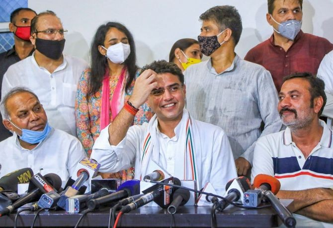 Congress leader Sachin Pilot along with party MLAs addresses a press conference at his residence in Jaipur. Photograph: PTI Photo