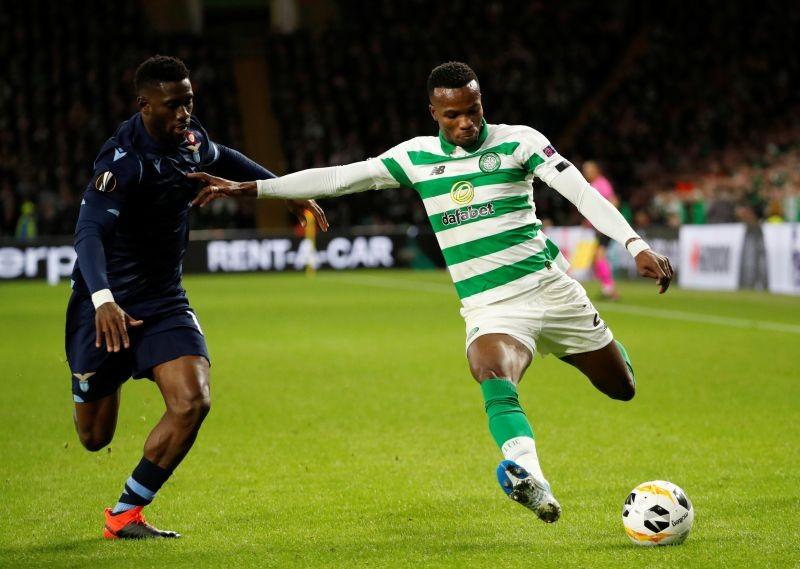 FILE PHOTO: Celtic's Boli Bolingoli-Mbombo in action with Lazio's Bastos. REUTERS/Russell Cheyne
