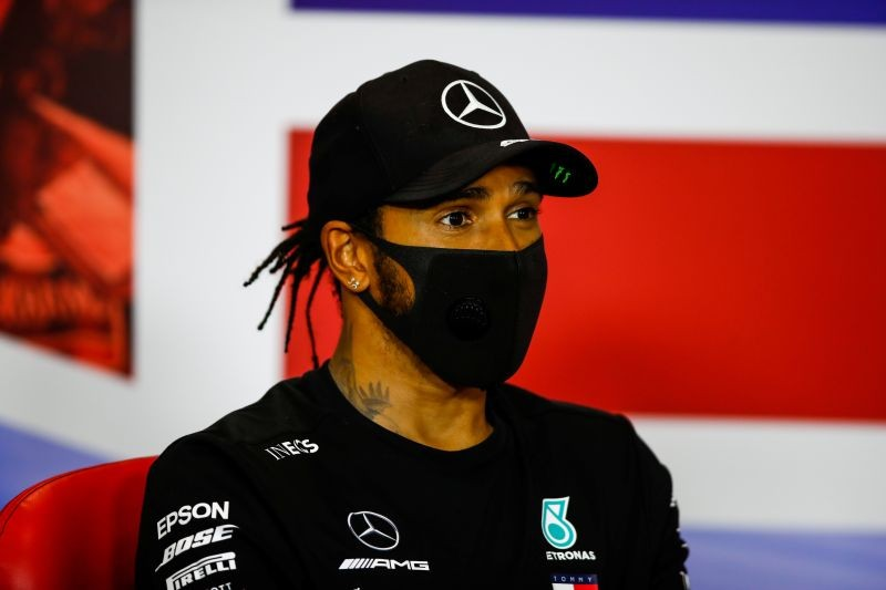 Second placed Mercedes' Lewis Hamilton during the press conference after the race FIA/Handout via REUTERS/Files