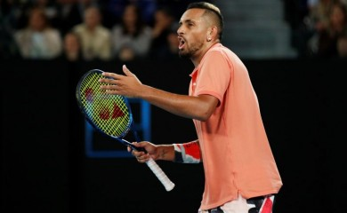 FILE PHOTO: Australia's Nick Kyrgios reacts during his match against Spain's Rafael Nadal. REUTERS/Edgar Su/File Photo