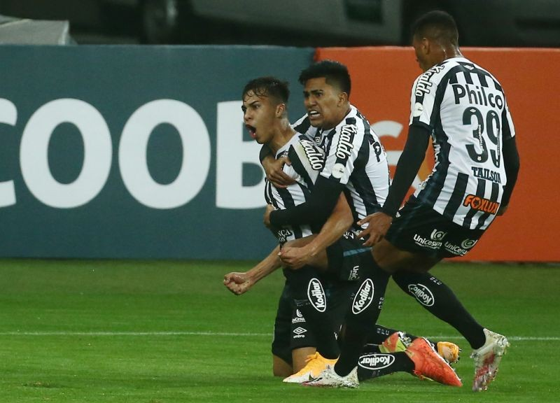 Santos' Kaio Jorge celebrates scoring a goal later disallowed after VAR review, following the resumption of play behind closed doors after the outbreak of the coronavirus disease (COVID-19) REUTERS/Diego Vara
