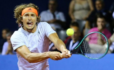 FILE PHOTO: Germany's Alexander Zverev in action during his match against Croatia's Marin Cilic REUTERS/Antonio Bronic