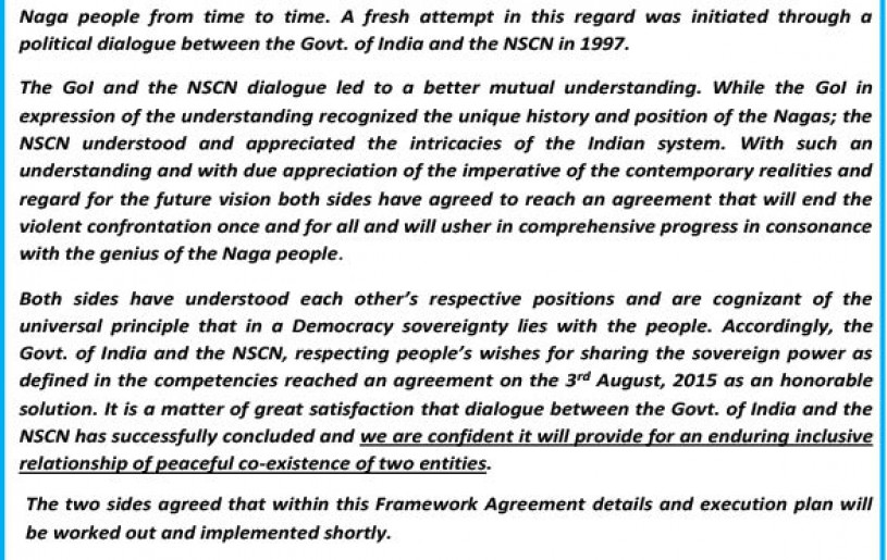 A screenshot of the 'manipulated' Framework Agreement as released by the NSCN (IM) on August 11. The NSCN (IM) alleged that the Interlocutor removed the word 'New' from the underlined section.