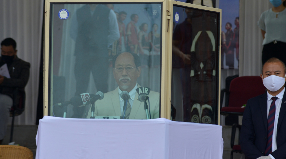 Nagaland Chief Minister addressing the State level celebration of India's 74th Independence Day  at Secretariat Plaza, Kohima on August 15, (DIPR Photo)