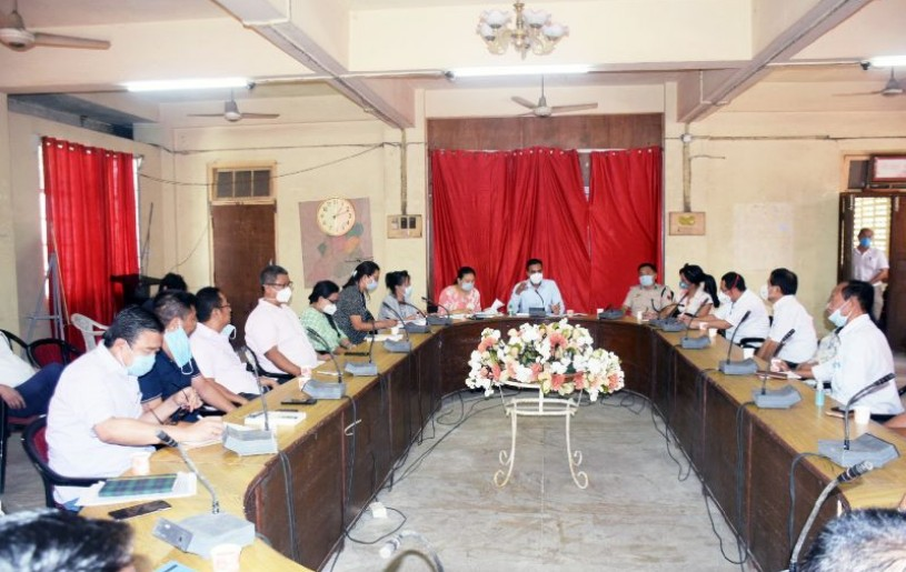 DC Dimapur, Rajesh Soundararajan addressing the Dimapur District Task Force meeting in the conference Hall of DC Dimapur office on August 7. (DIPR Photo)