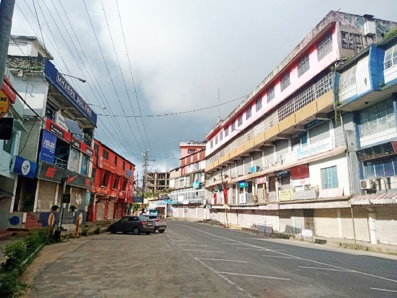 A completely deserted street in Kohima as it enters 2nd phase of total lockdown on August 1. (Morung Photo)