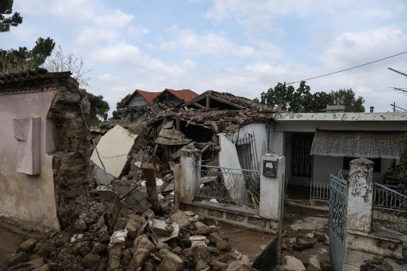 A view of a destroyed house at the village of Bourtzi, following flash floods on the island of Evia, Greece on August 9, 2020. (REUTERS Photo)