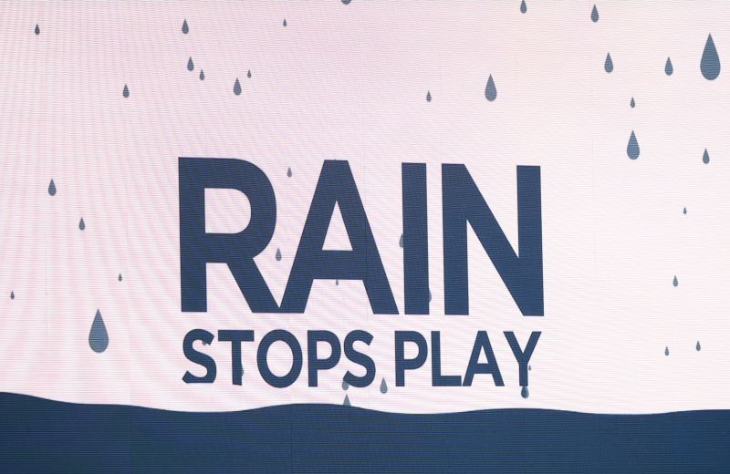 Cricket - Second Test - England v Pakistan - Ageas Bowl, Southampton, Britain - August 16, 2020 General view of a message on the big screen as rain stops play, as play resumes behind closed doors following the outbreak of the coronavirus disease (COVID-19) Stu Forster/Pool via REUTERS