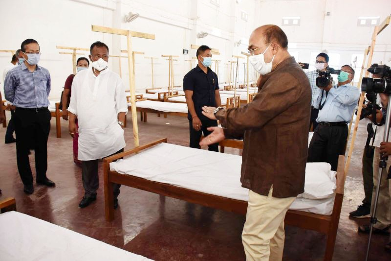 Manipur Chief Minister, N Biren Singh inspecting the newly inaugurated COVID Care Centre in Imphal on August 3. (NNN Photo)