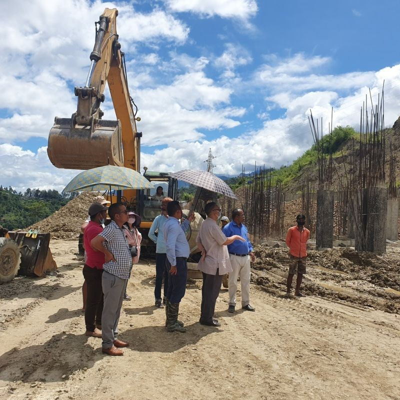 Nagaland Health and Family Welfare Minister S Pangnyu Phom and others inspecting the ongoing construction works of Nagaland Medical College at Phriebagei, Kohima on August 26.  (Photo Courtesy: @pangnyu / Twitter)