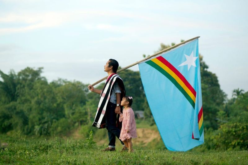A father and daughter take part in a Naga Independence Day project in the outskirt of Dimapur on August 13. (Photo Courtesy: Betoka Swu)