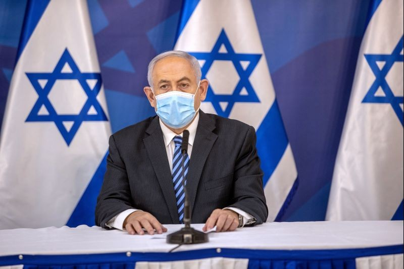 Israeli Prime Minister Benjamin Netanyahu issues a statement at the Israeli Defense Ministry in Tel Aviv, Israel July 27 2020, following the high tensions with the Lebanese militant group of Hezbollah at the Israel-Lebanon border. (REUTERS File Photo)