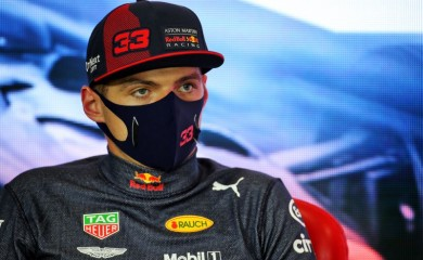 Second placed Red Bull's Max Verstappen during the press conference after the race FIA/Handout via REUTERS