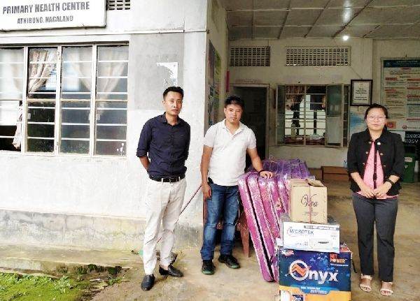 Zeliang Officer Association Nagaland (ZOAN) donated eight mattress and an inverter set to Primary Health Centre (PHC) Athibung town on July 28. The donated items were received by Dr. Vezokholu Khamo. (DIPR Photo)