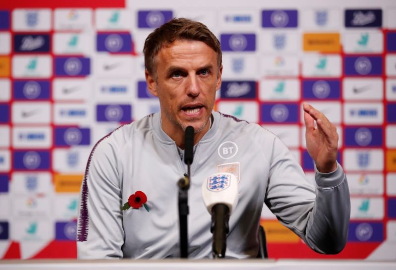 England manager Phil Neville during a press conference Action Images via Reuters/Andrew Boyers/File Photo