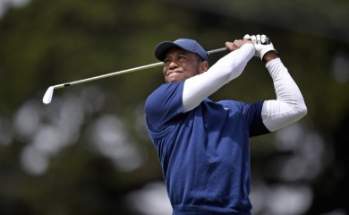 Tiger Woods plays his shot from the 11th tee box during the third round of the 2020 PGA Championship golf tournament at TPC Harding Park. Mandatory Credit: Kelvin Kuo-USA TODAY Sports
