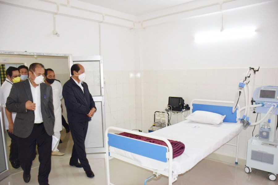 Chief Minister Neiphiu during his visit to the Dimapur district Hospital which has been converted into Dimapur COVID 19 Hospital. (DIPR File Photo/ For representational purpose.)