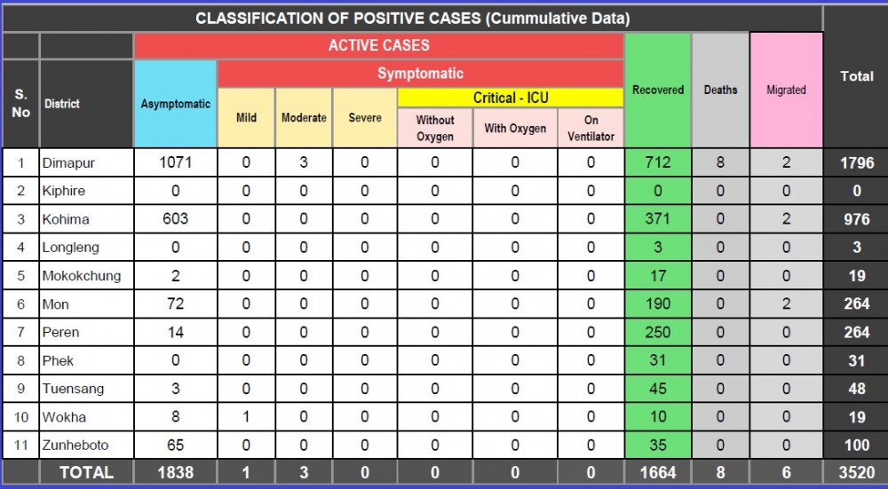 Nagaland COVID-19 Status as of August 19, 3 PM. (Source: Integrated Disease Surveillance Programme, Department of Health & Family Welfare, Nagaland)