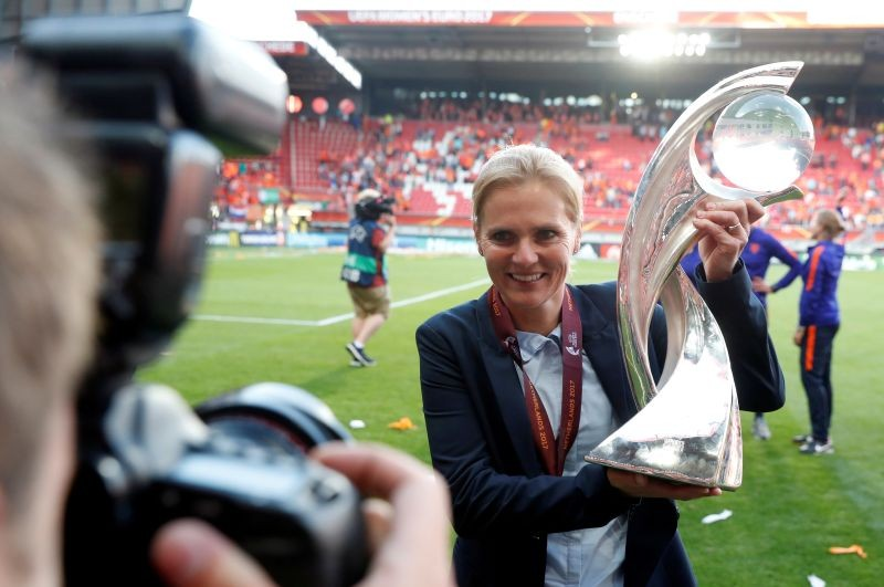 FILE PHOTO: Netherlands coach Sarina Wiegman celebrates with the trophy after winning the Euro 2017 Final REUTERS/Yves Herman